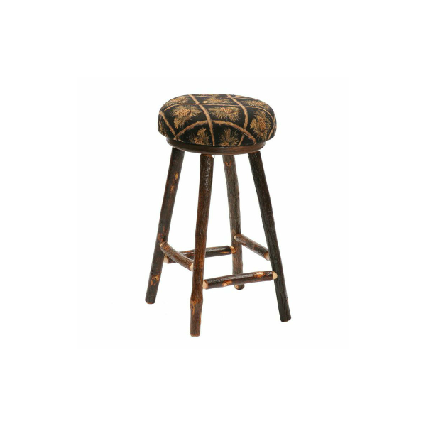 Hickory Round Counter Stool With Upholstered Seat By Fireside Lodge Furniture
