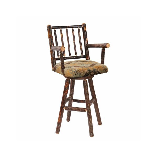 Hickory Upholstered Swivel Barstool With Arms Bar Height Furniture Family