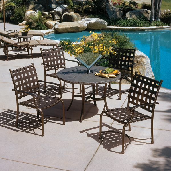 Sorrento Cross Strap Outdoor Patio Dining Set By Tropitone