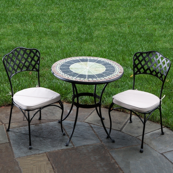 "30"" Ponte Marble Mosaic Bistro Set by Alfresco Home"