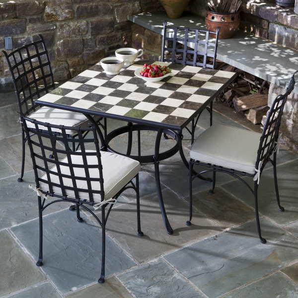 5 Piece Carnival Checkerboard Marble Mosaic Bistro Set From Alfresco