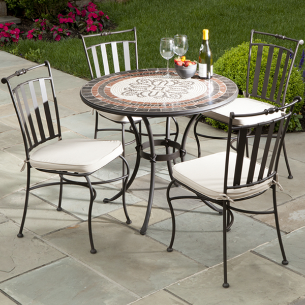 5 Piece Orvieto Mosaic Outdoor Cafe Set From Alfresco
