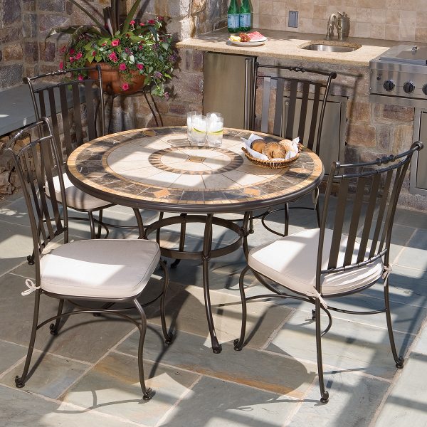 5 Piece pass Mosaic Outdoor Dining Set From Alfresco Home