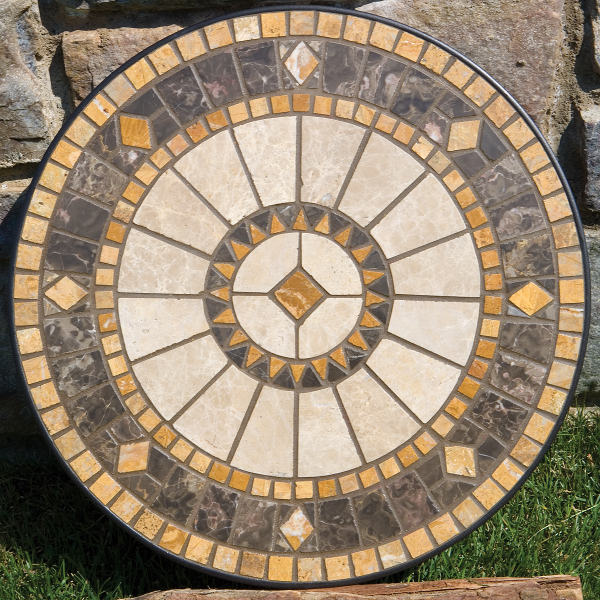 Compass Marble Mosaic Patio Table Top