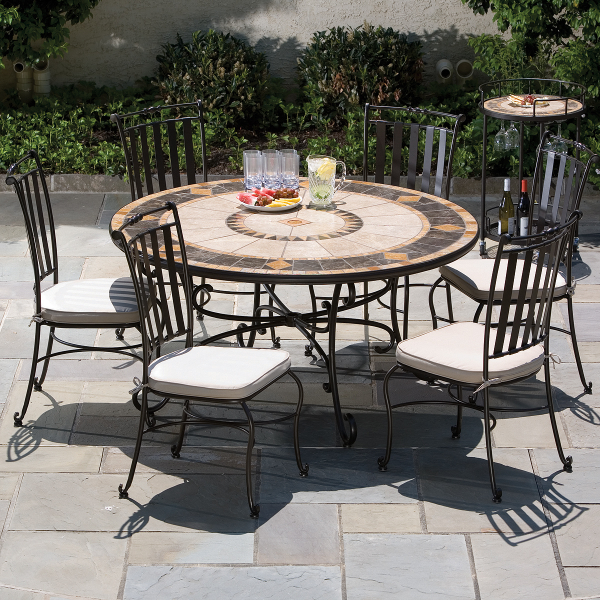 7 Piece pass Mosaic Outdoor Furniture Dining Set From