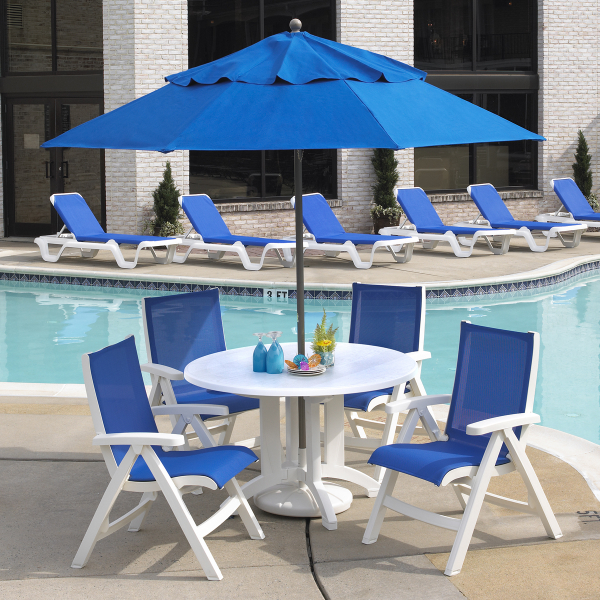 Belize sling chair white 2 pack by grosfillex family for Poolside table and chairs