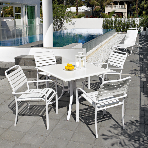 Clearwater strap dining by telescope casual outdoor for Low maintenance outdoor furniture