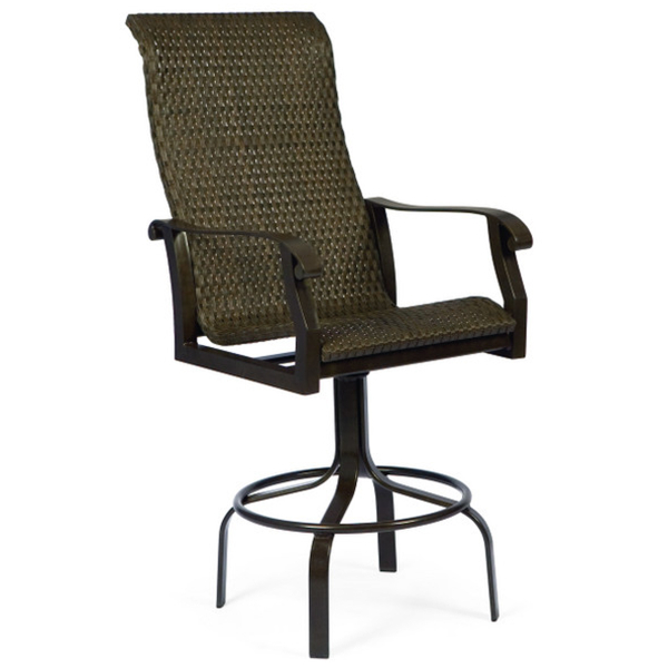 Cortland Woven Swivel Bar Stool by Woodard