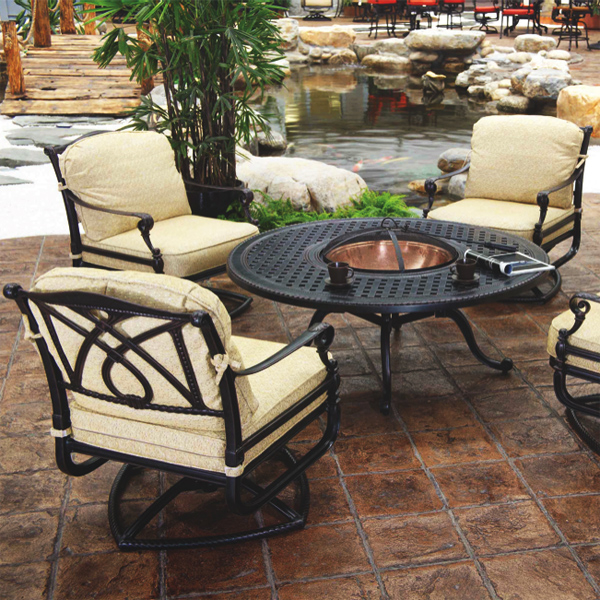 Grand terrace fire pit set by gensun family leisure for Terrace chairs