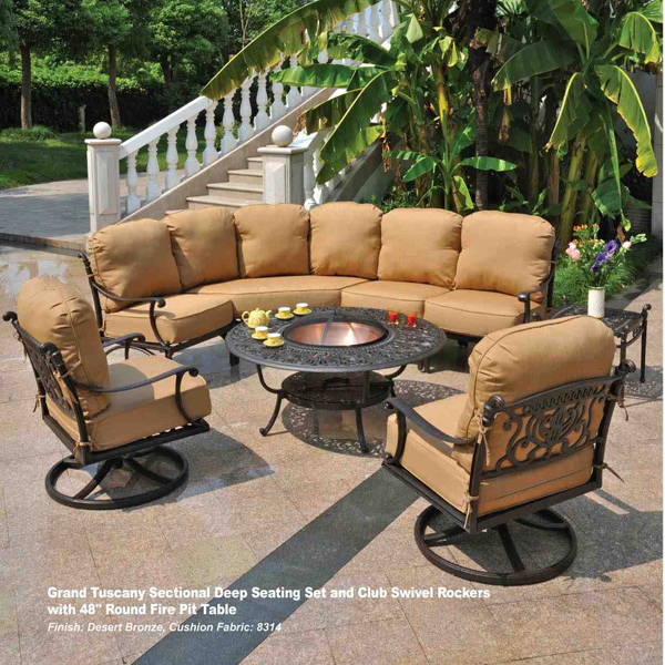 Grand tuscany deep seating sectional by hanamint family for Hanamint patio furniture