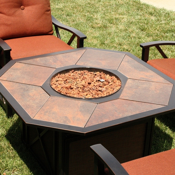 create another outdoor room with patio furniture surrounding a gas fire pit - Fire Pit Patio Set
