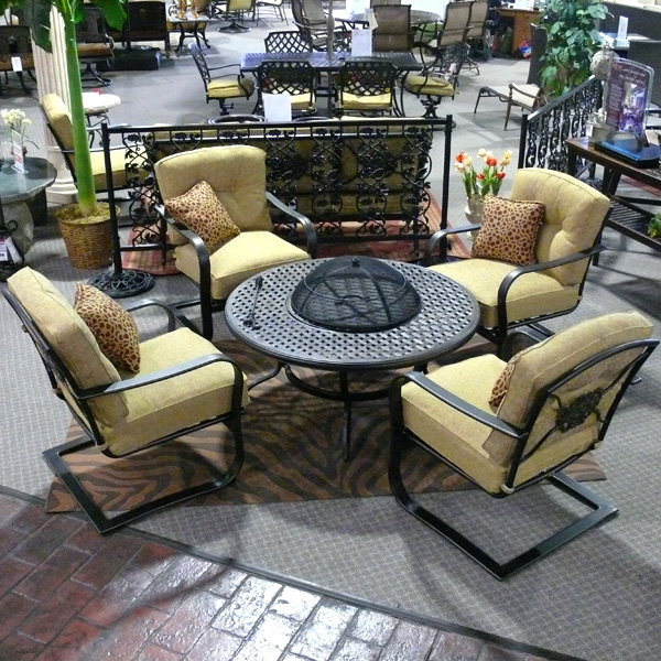 5 Piece Heritage Deep Seating Fire Pit Patio Set Family