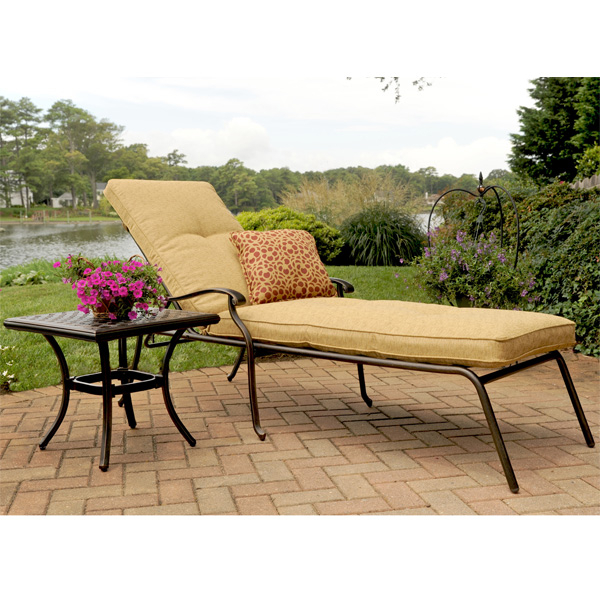 Heritage outdoor aluminum chaise lounge with cushion for Agio wicker chaise lounge