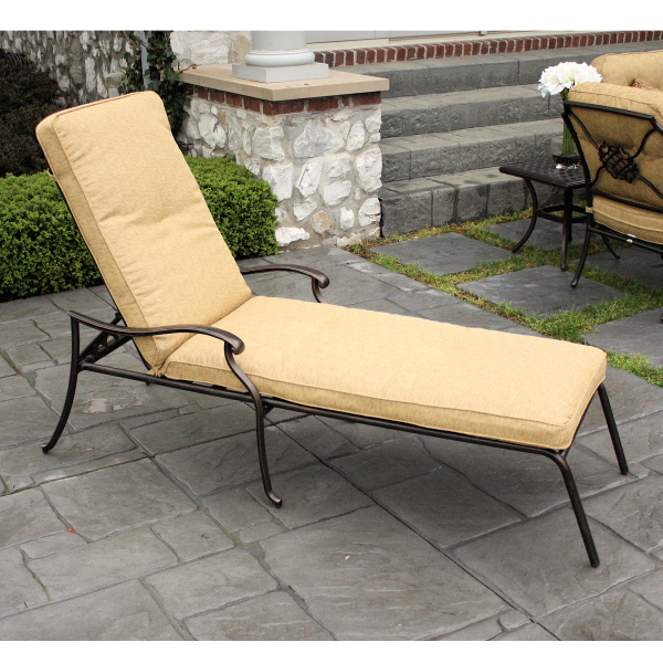 6 piece heritage deep seating cast aluminum patio set for Agio heritage chaise lounge