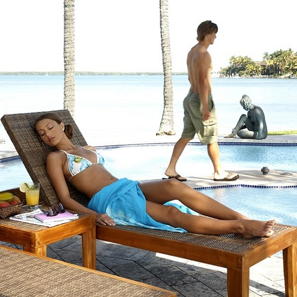 leeward islands teak chaise lounge