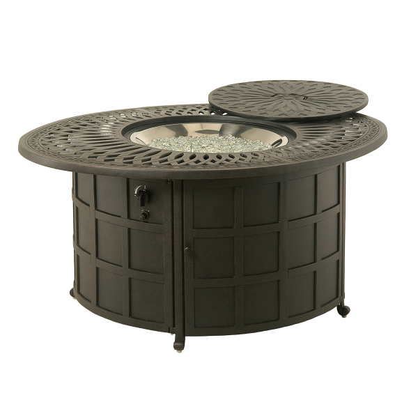 Mayfair 48 39 39 Round Enclosed Gas Fire Pit By Hanamint Patio Accessor
