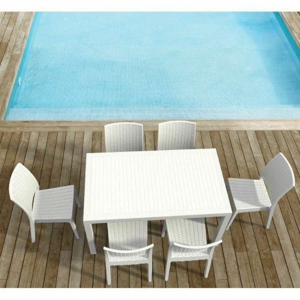 Outdoor Furniture Orlando: Orlando 7 Piece Rectangle Dining Set White By Compamia