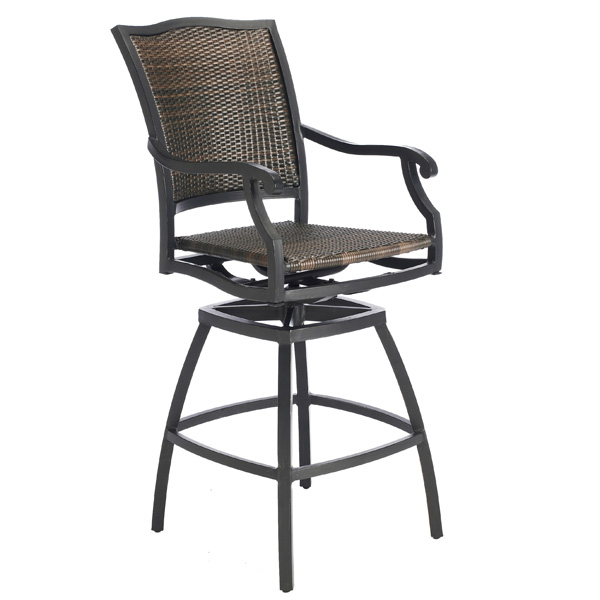 The Plaza Woven Wicker Outdoor Bar Stool