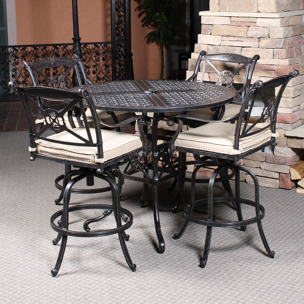 San marino bar height patio set by gensun family leisure for Bar height patio furniture