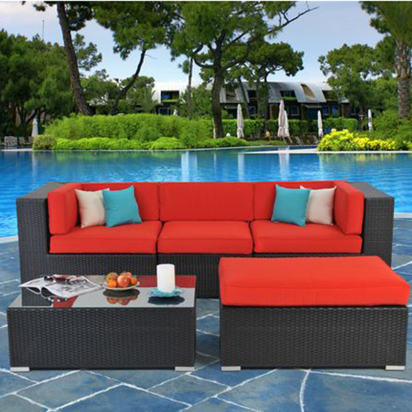 San Tropez 5 Piece Sectional Sofa Set Set All Weather Wicker Outdoor Sectiona