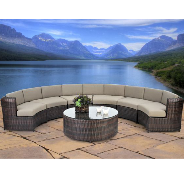 this circular synthetic wicker patio sectional will stand up to all