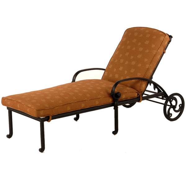 Sienna outdoor chaise lounge patio set by hanamint for Cast iron chaise lounge