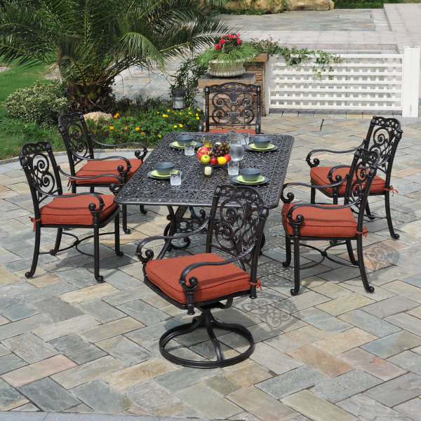 Sienna outdoor patio dining set by hanamint family leisure for Hanamint patio furniture