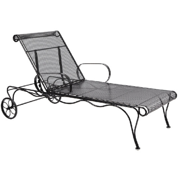 Tucson adjustable chaise lounge by woodard garden for Cast iron chaise lounge