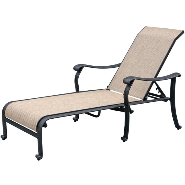 Venice sling outdoor chaise patio set caluco family for Another name for chaise lounge