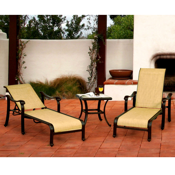 Venice Sling Outdoor Chaise Patio Set Caluco Family Leisure