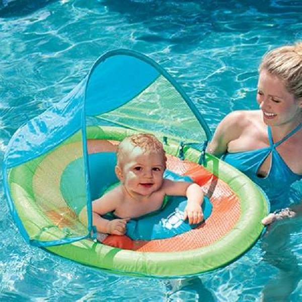 Baby Spring Pool Float With Canopy Turtle By Swimways