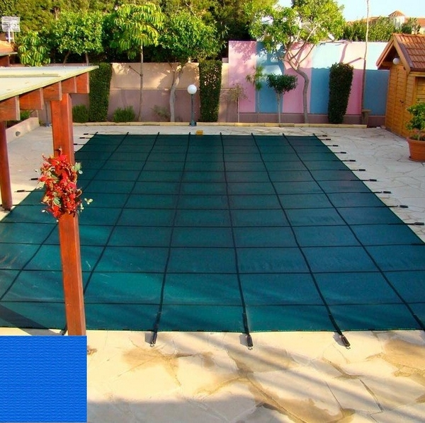 Rectangle pool cover with solid blue material by coverlon for Cheap rectangle pools