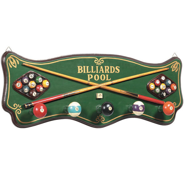 Billiards Coat Rack by R.A.M. Game Room | Game Room Decor | Family ...