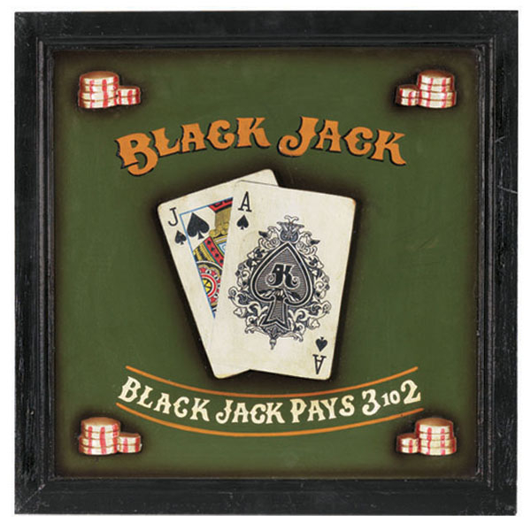 Black Jack Wall Art by R.A.M. Game Room | Game Room Decor | Family ...