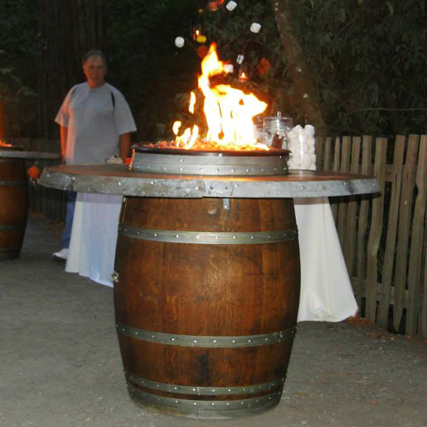 Grand Wine Barrel Fire Pit Table Bar Height By Vin De