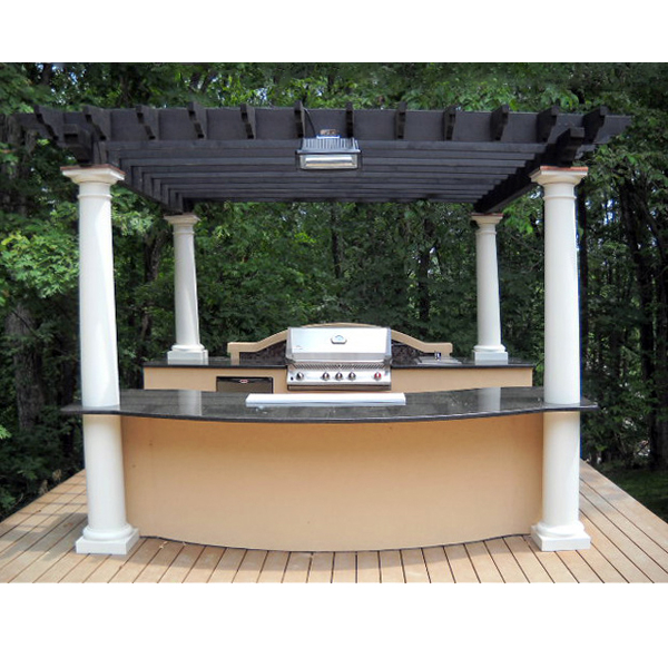 Custom outdoor kitchen with pergola family leisure for Outdoor kitchen under pergola