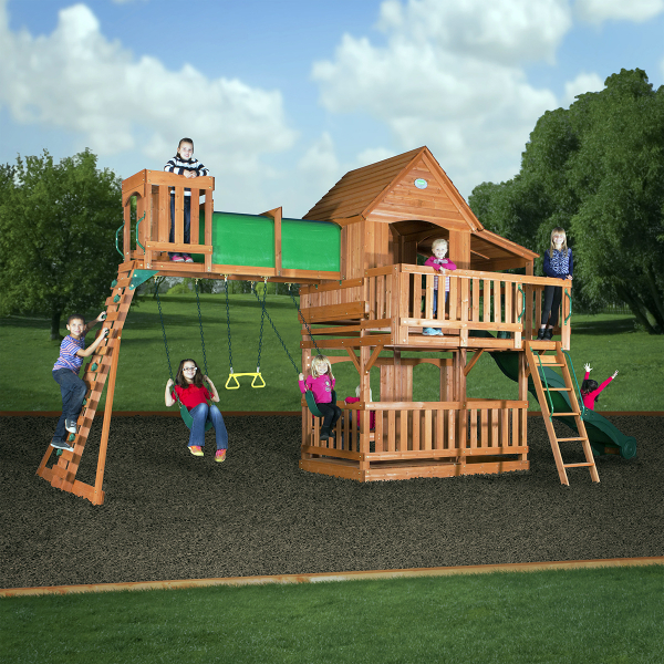 woodridge ii cedar play set by backyard discovery outdoor swing sets family leisure family. Black Bedroom Furniture Sets. Home Design Ideas