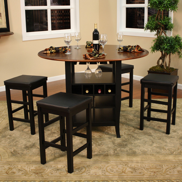 Multi Functional Counter Height Dining Set With Four Stools Built In