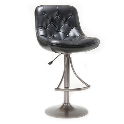 Adjustable Bar Stool with Tufted Faux Leather Seat & Oyster Gray Metal Finish