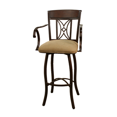Classic Wood & Metal Bar Stool With A Full-Bearing Return Swivel Action