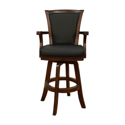 A Breathtaking Wood & Leather Swivel Bar Stool From American Heritage