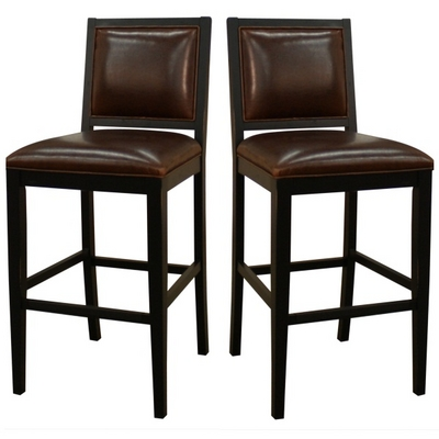Vintage Stationary Bar Stool With Bonded Bourbon Leather & Antique Black Finish