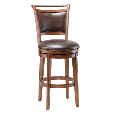 Handsome Bar Stool With Distressed Medium Brown Cherry Finish & Rope Top Rail