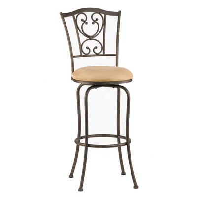 Scrolled Bar Stool With A Classic Design & Buckskin-Hued Faux-Suede Upholstery