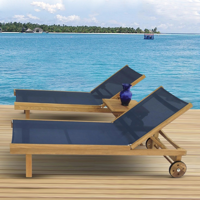 Sundaze teak chaise lounge by royal teak family leisure for Agio sling chaise lounge