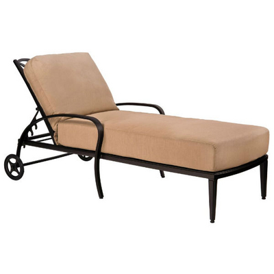 Apollo chaise lounge by woodard outdoor patio furniture for Cast iron chaise lounge