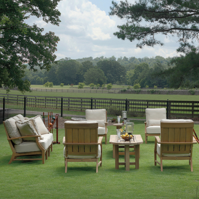 Online Patio Furniture on Croquet Teak Deep Seating Patio Set Collection By Summer Classics