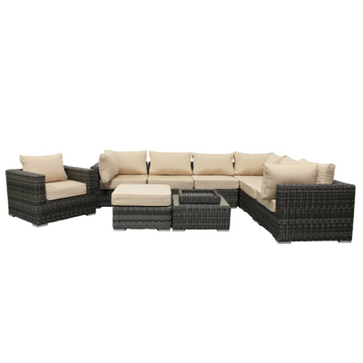 Square & Geometric Wicker Patio Sectional Set with Sunbrella Fabric Cushions