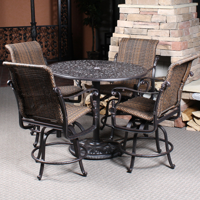 Florence Woven Bar Height Patio Set By Gensun Family Leisure