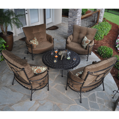 patio furniture with a contemporary geometric style inspired by city